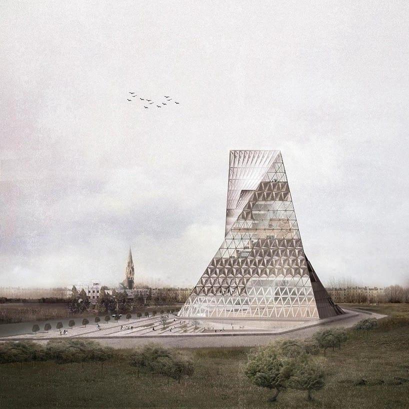 """Голландская студия JOA представила проект """"Книжной башни"""", современной библиотеки, которую могут построить в Варшаве. В проект заложена отсылка к библейской Вавилонской башне."""